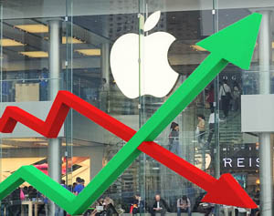 apple-beurskoers-omhoog-omlaag