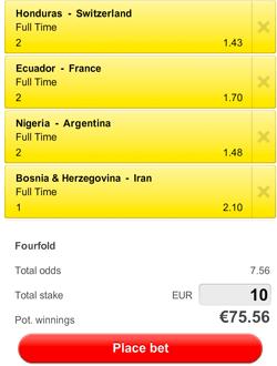 De bookmakers voorspellen een overwinning van Bosnië, Argentinië, Frankrijk en Zwitserland.