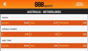 Nederland is favoriet voor de wedstrijd tegen Australië.