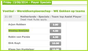 Bij het sportsbook zijn verschillende Sneijder weddenschappen af te sluiten