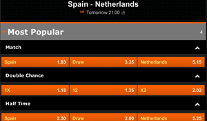 Quoteringen Spanje - Nederland