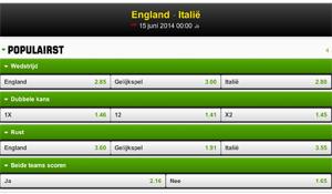 Quotering Engeland - Italie